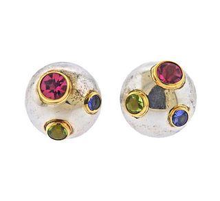 Tiffany & Co Silver 18K Gold Etoile Peridot Sapphire  Earrings