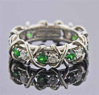 Platinum Diamond Green Stone X Band Ring