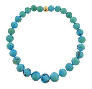 18K Gold Diamond Turquoise Bead Necklace