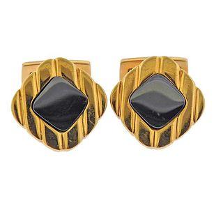 18K Gold Hematite Cufflinks