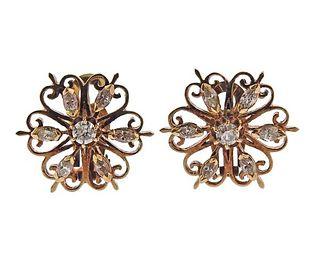 Mid Century 14K Gold Diamond Floral Earrings