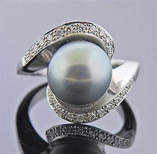 18K Gold Diamond Tahitian South Sea Pearl Ring