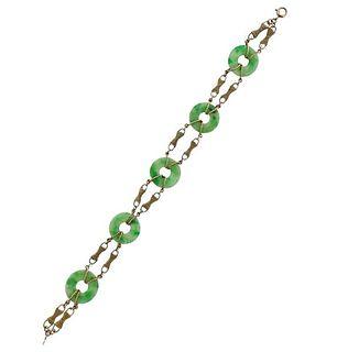 Art Deco 14K Gold Jade Station Bracelet