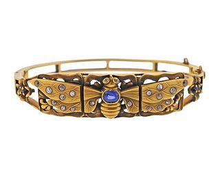 14K Gold Diamond Sapphire Bangle Bracelet