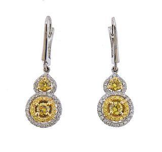18K Gold Fancy Yellow Diamond Drop Earrings