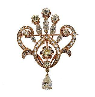 Antique 14K Gold Diamond Brooch Pendant