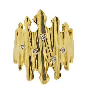 Italian 18K Gold Diamond Ring