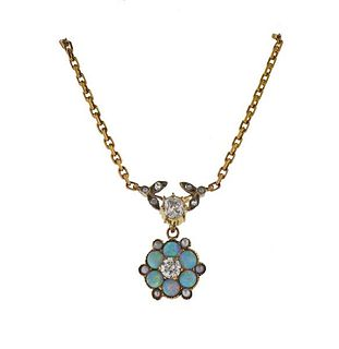 Antique 14K Gold Diamond Pearl Opal Pendant Necklace