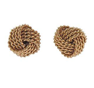 Tiffany & Co 14k Gold Woven Knot Stud Earrings