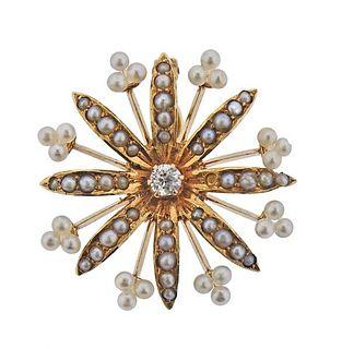 Antique Victorian 14K Gold Diamond Seed Pearl Pendant