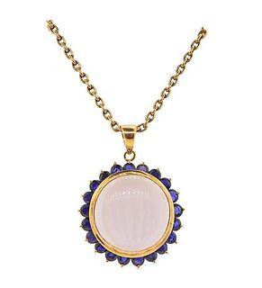 18K Gold Moonstone Sapphire Pendant Necklace