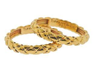 Tiffany & Co 18K Gold Band Ring Set