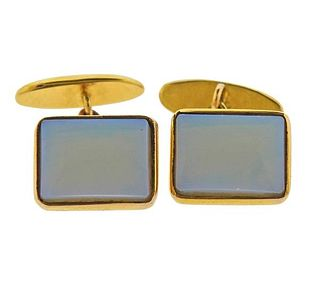 Vintage 18K Gold Opal Cufflinks