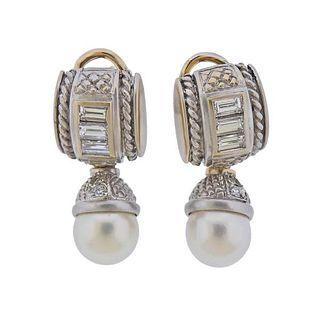 Judith Ripka 18k Gold Diamond Pearl Day & Night Earrings
