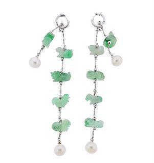 18k Gold Carved Jade Pearl Diamond Long Drop Earrings