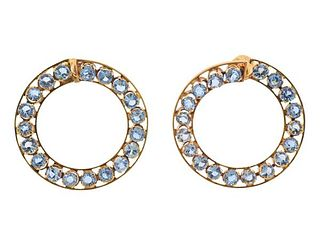 Continental 18k Gold Aquamarine Circle Earrings
