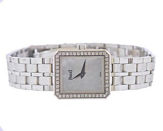 Piaget Protocol 18k Gold Diamond Mother of Pearl Watch 5355M601D