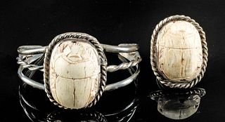 Egyptian Stone Scarabs in Silver Bracelet & Ring