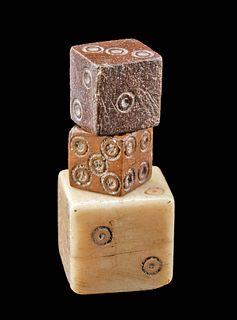 Roman Bone Dice Group of 3