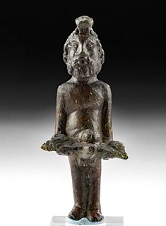 Roman Leaded Bronze Figure of Priapus w/ Offering Tray