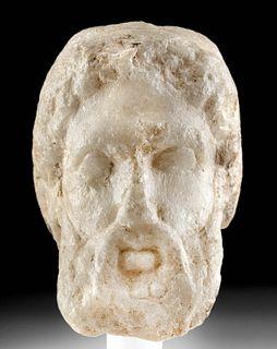 Roman Marble Head of a Silenus