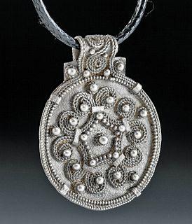 9th C. Viking Silver Bracteate Pendant
