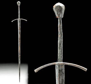 15th C. German Iron Bastard Sword w/ Copper Cross