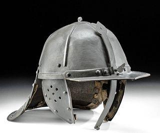 17th C. German Steel Lobster-Tailed Pot Helmet