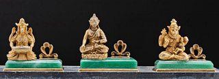 3 Antique Indian Silver & Gilt Silver Gods & Greenstone