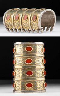 19th C. Turkoman Gilt Silver Bracelet w/ Glass Inlays
