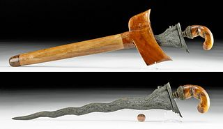 19th C. Indonesian Iron Kris w/ Dugong Bone Handle