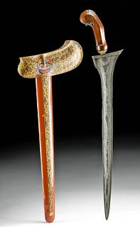 Early 20th C. Indonesian Iron & Painted Wood Kris