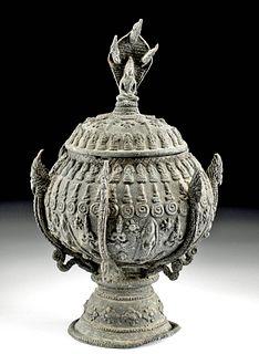 19th C. Thai Brass Lidded Vessel w/ Buddhas and Nagas