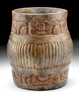 Maya Pottery Fluted Cylinder Vessel w/ Glyphs