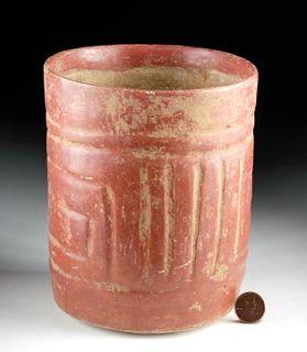 Maya Painted Pottery Cylinder w/ Linear Motifs