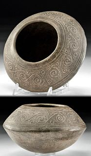 Chimu Grayware Bowl w/ Incised Decoration, ex-Sotheby's