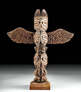20th C.  Northwest Coast Wood Totem Pole Ray Williams