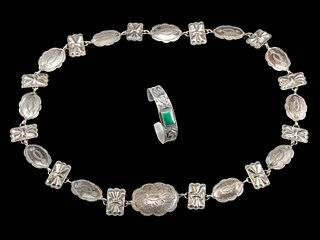 Navajo Silver Concha Belt and Bracelet w/ Turquoise