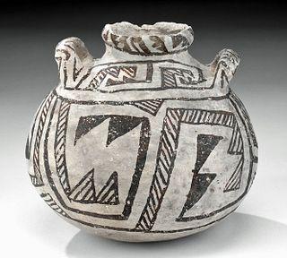 Anasazi Black-on-White Pottery Canteen - Chaco Style