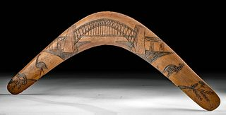 20th C. Aboriginal Wood Boomerang w/ Bridge - Wes Simms