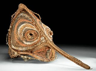 20th C. Papua New Guinea Fiber Yam Mask w/ Feathers