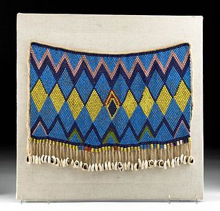 20th C. African Kirdi Glass Bead Apron w/ Cowrie Shells