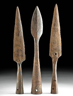 Lot of Three 17th C. Spanish Colonial Iron Spear Tips