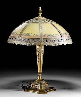 Antique American Brass & Slag Glass Lamp