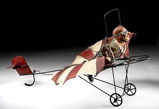 Antique American Paper Mache Aviator in Metal Monoplane