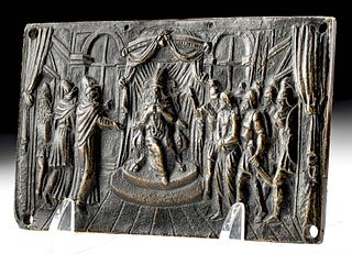 15th C. European Brass Plaque of Christ Before Herod