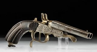 Early 20th C. English Steel & Wood Percussion Pistol