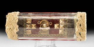 Late 19th C. European Glass Tube Reliquary - St. Caiipp