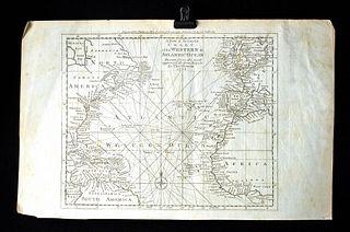 18th C. British Map - Triangular Trade - Thomas Bowen