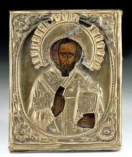 19th C. Russian Icon w/ Gilt Brass Oklad, St. Nicholas